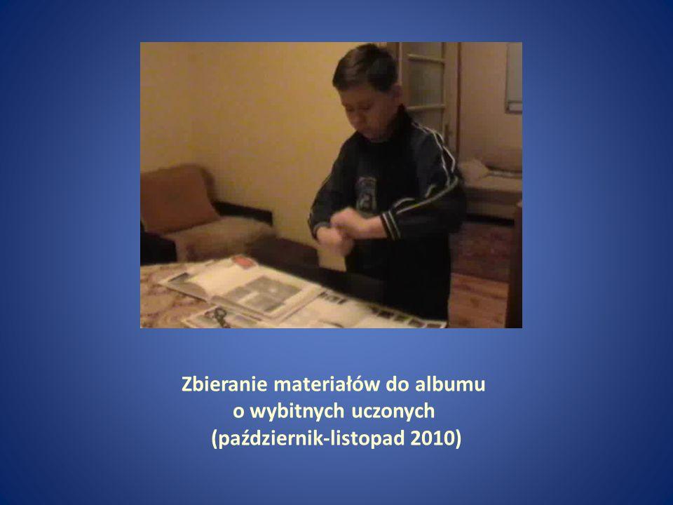 Zbieranie materiałów do albumu o wybitnych uczonych (październik-listopad 2010)