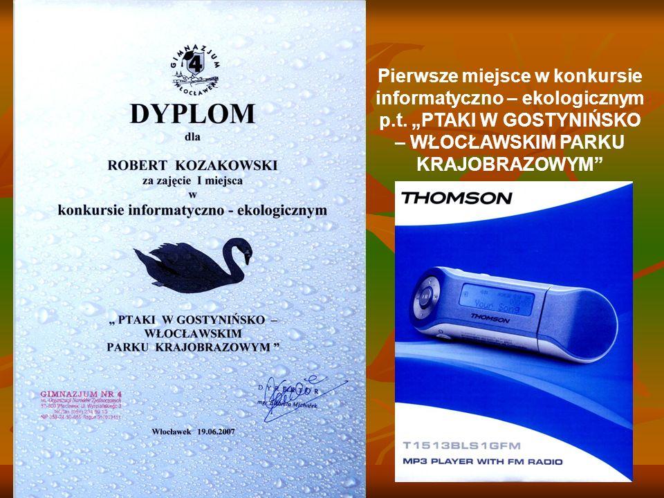 Pierwsze miejsce w konkursie informatyczno – ekologicznym p. t