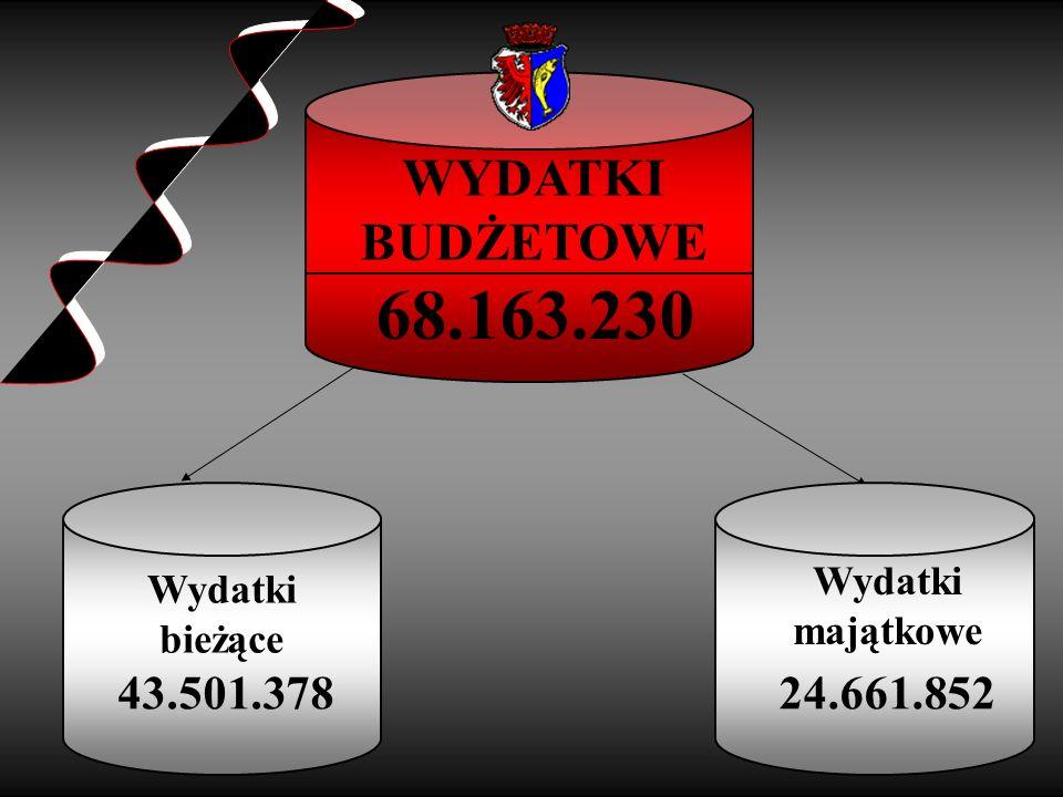 68.163.230 WYDATKI BUDŻETOWE 43.501.378 24.661.852 Wydatki Wydatki