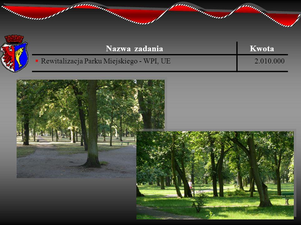Nazwa zadania Kwota Rewitalizacja Parku Miejskiego - WPI, UE 2.010.000