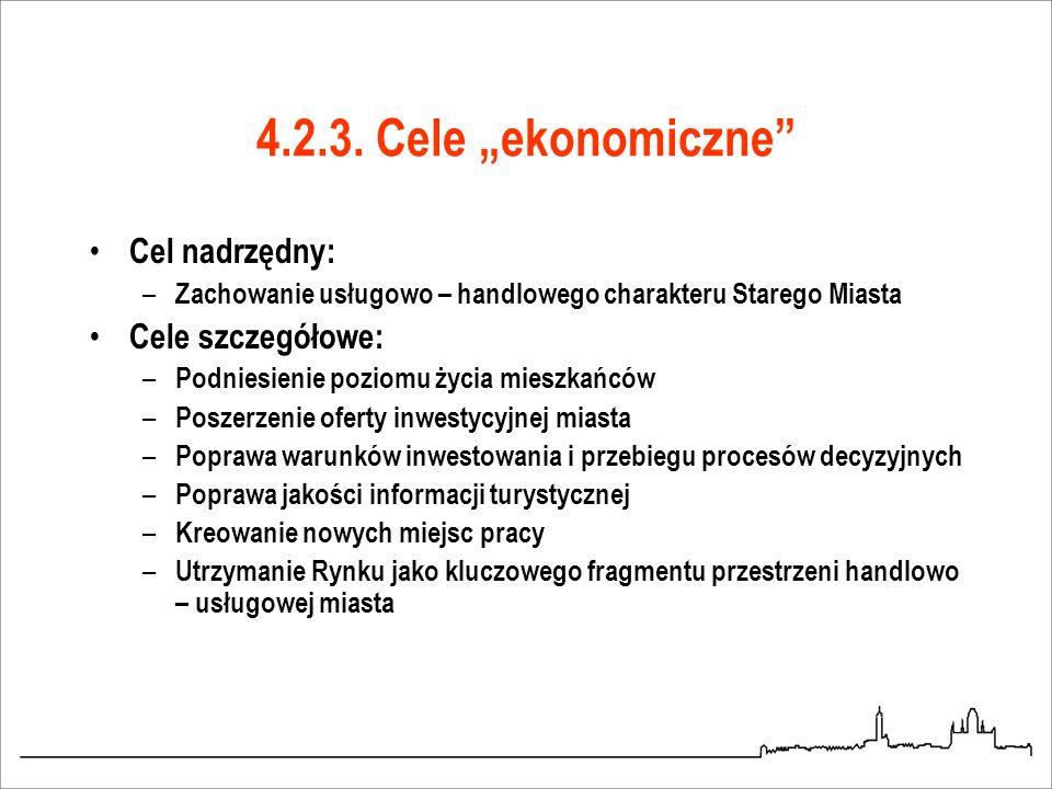 """4.2.3. Cele """"ekonomiczne Cel nadrzędny: Cele szczegółowe:"""