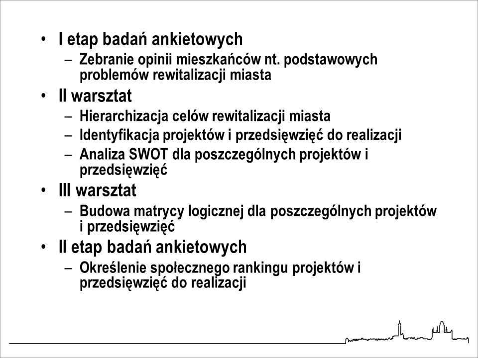 I etap badań ankietowych II warsztat