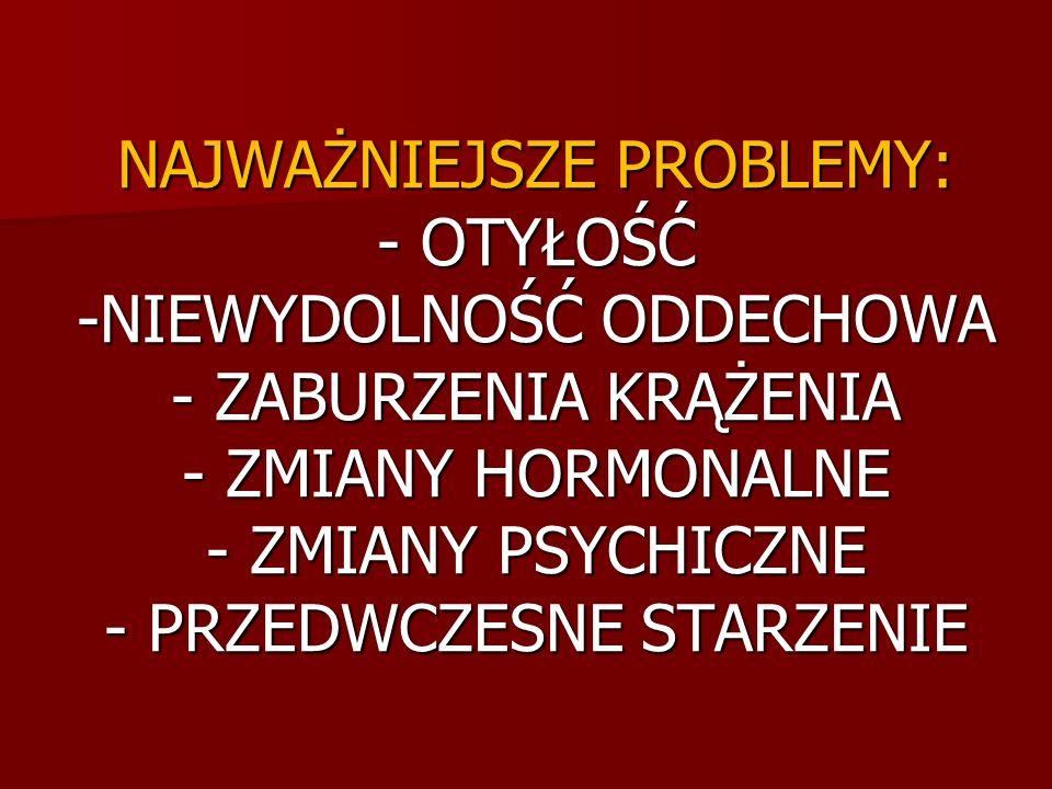 NAJWAŻNIEJSZE PROBLEMY: - OTYŁOŚĆ -NIEWYDOLNOŚĆ ODDECHOWA - ZABURZENIA KRĄŻENIA - ZMIANY HORMONALNE - ZMIANY PSYCHICZNE - PRZEDWCZESNE STARZENIE