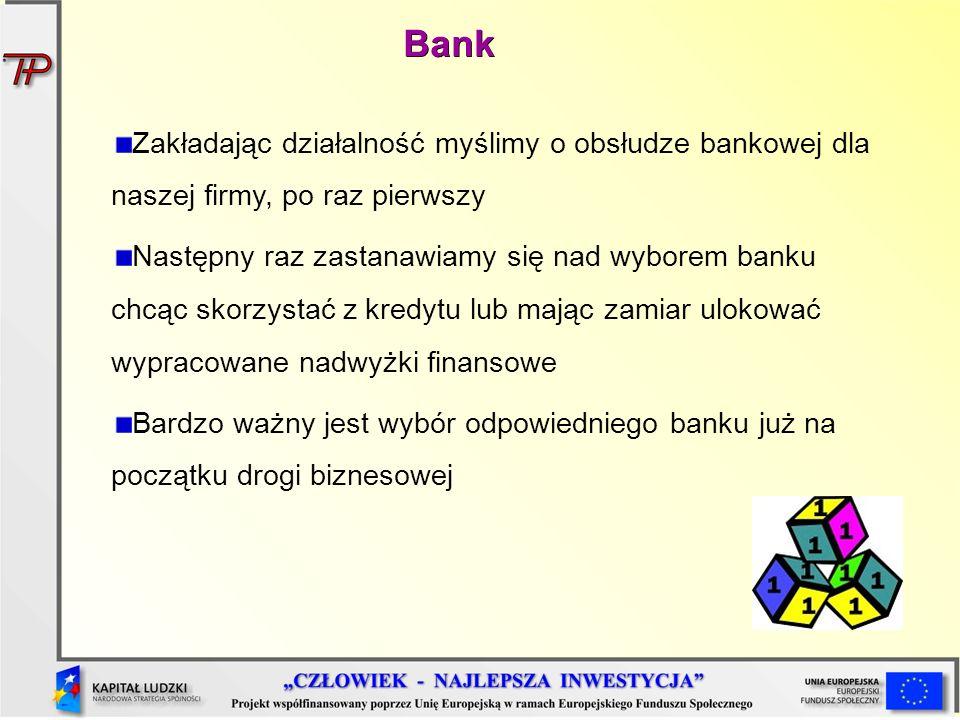 Bank Zakładając działalność myślimy o obsłudze bankowej dla naszej firmy, po raz pierwszy.