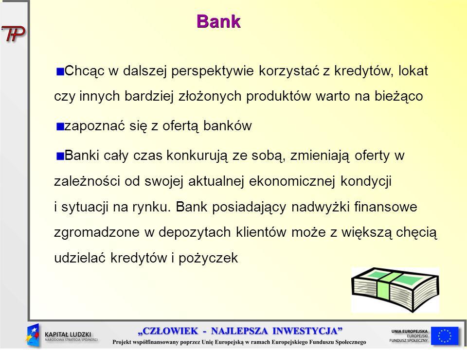 Bank Chcąc w dalszej perspektywie korzystać z kredytów, lokat czy innych bardziej złożonych produktów warto na bieżąco.