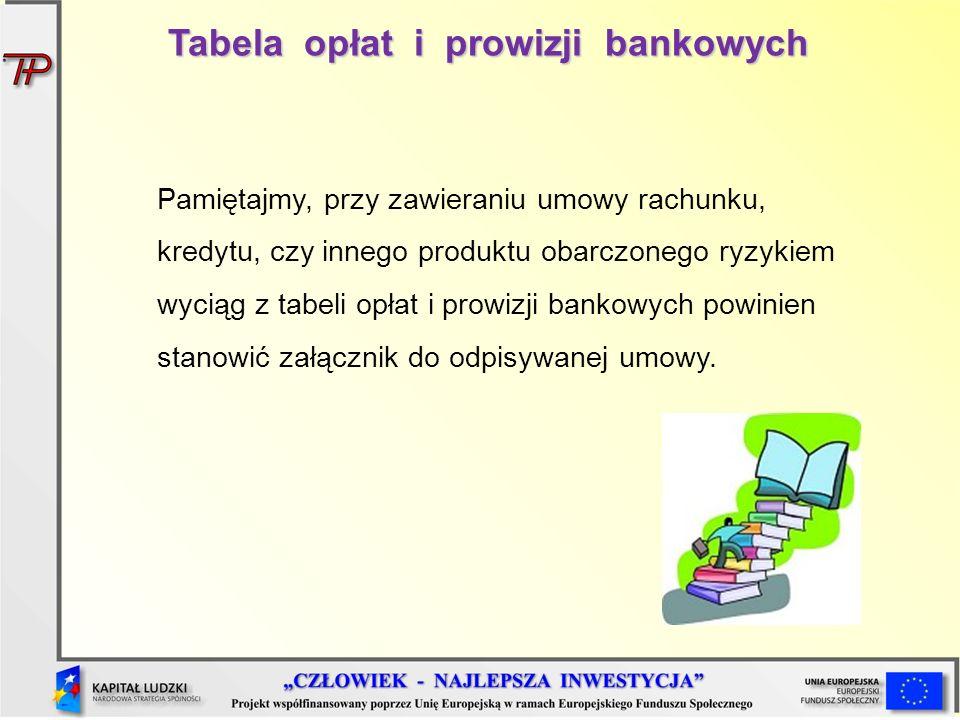 Tabela opłat i prowizji bankowych