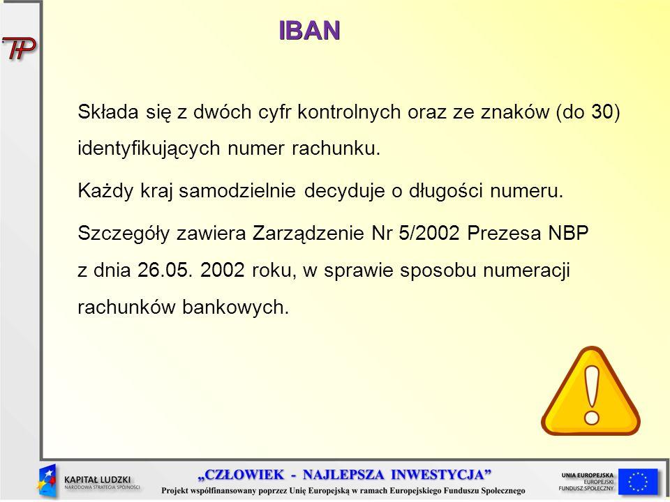 IBAN Składa się z dwóch cyfr kontrolnych oraz ze znaków (do 30) identyfikujących numer rachunku.