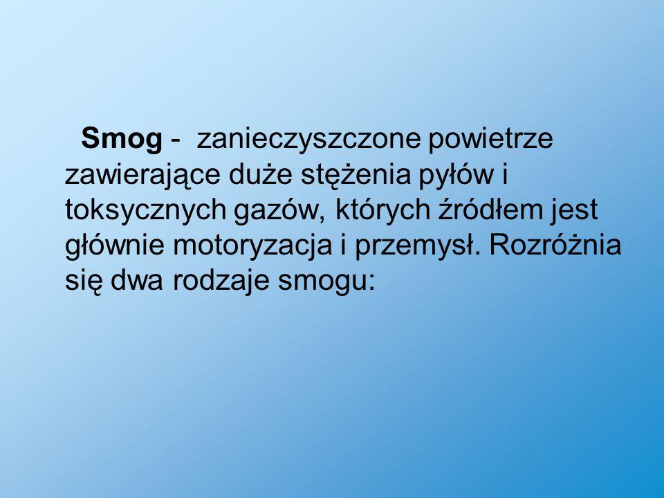 Smog - zanieczyszczone powietrze zawierające duże stężenia pyłów i toksycznych gazów, których źródłem jest głównie motoryzacja i przemysł.