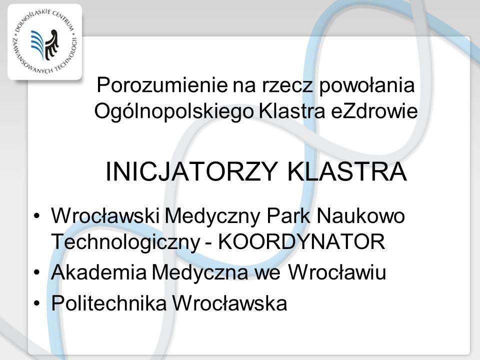 Porozumienie na rzecz powołania Ogólnopolskiego Klastra eZdrowie INICJATORZY KLASTRA