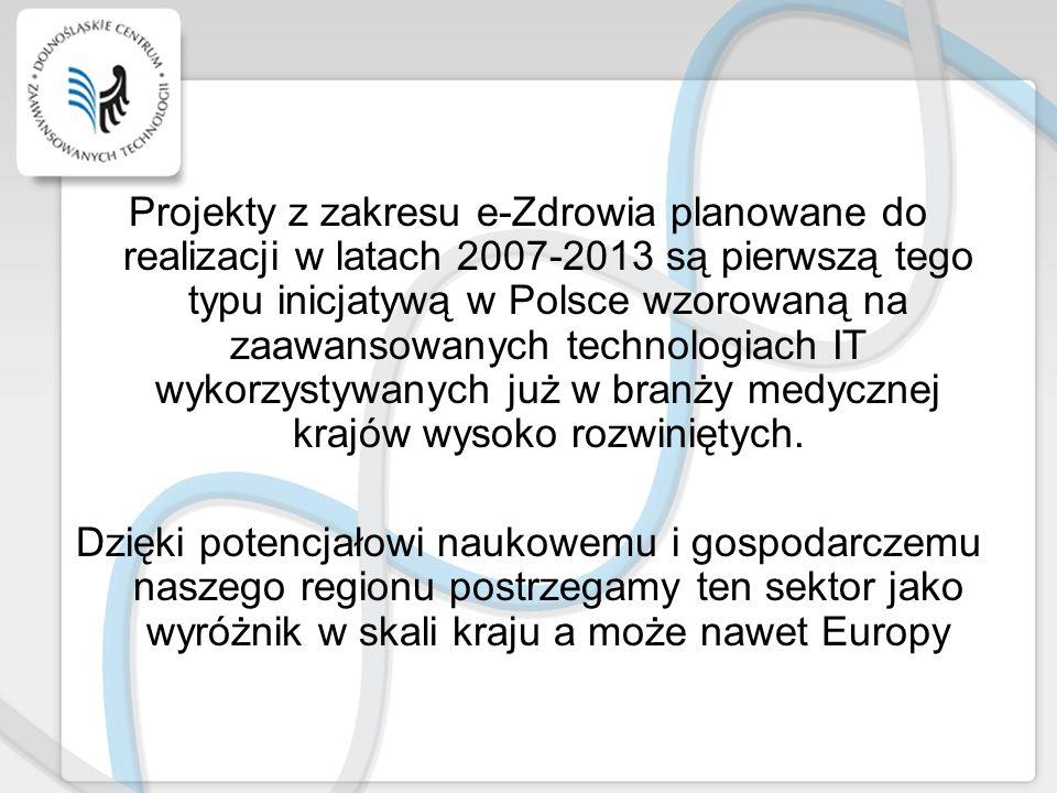 Projekty z zakresu e-Zdrowia planowane do realizacji w latach 2007-2013 są pierwszą tego typu inicjatywą w Polsce wzorowaną na zaawansowanych technologiach IT wykorzystywanych już w branży medycznej krajów wysoko rozwiniętych.