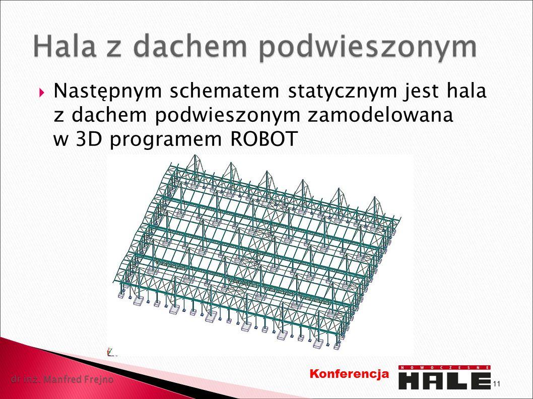 Następnym schematem statycznym jest hala z dachem podwieszonym zamodelowana w 3D programem ROBOT