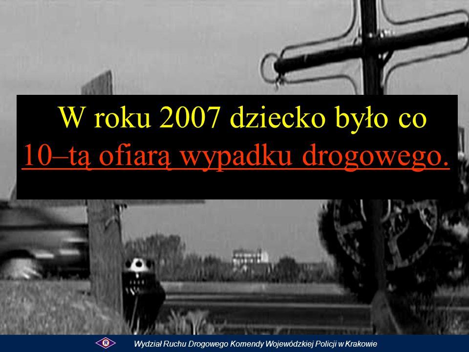 W roku 2007 dziecko było co 10–tą ofiarą wypadku drogowego.