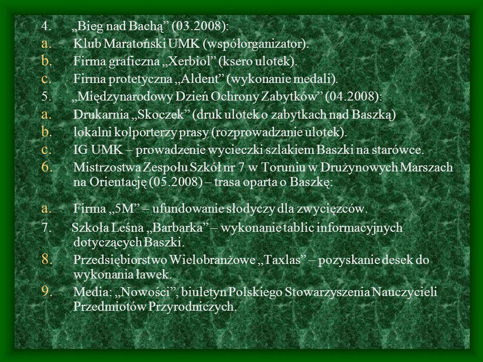 """4. """"Bieg nad Bachą (03.2008):Klub Maratoński UMK (współorganizator). Firma graficzna """"Xerbiol (ksero ulotek)."""