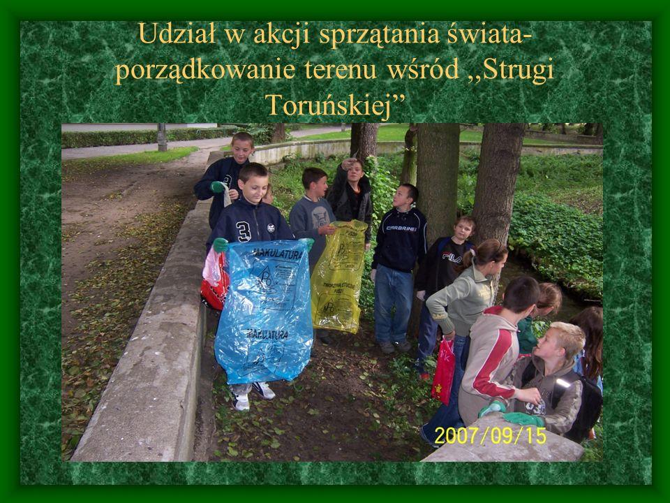 Udział w akcji sprzątania świata- porządkowanie terenu wśród ,,Strugi Toruńskiej