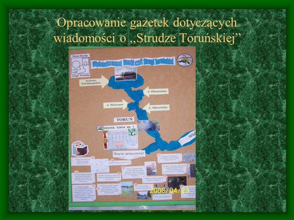 Opracowanie gazetek dotyczących wiadomości o ,,Strudze Toruńskiej