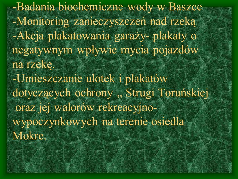 -Badania biochemiczne wody w Baszce -Monitoring zanieczyszczeń nad rzeką -Akcja plakatowania garaży- plakaty o negatywnym wpływie mycia pojazdów na rzekę.