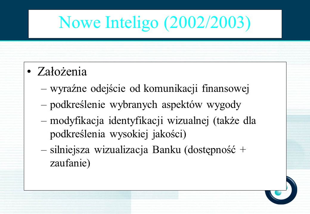 Nowe Inteligo (2002/2003) Założenia