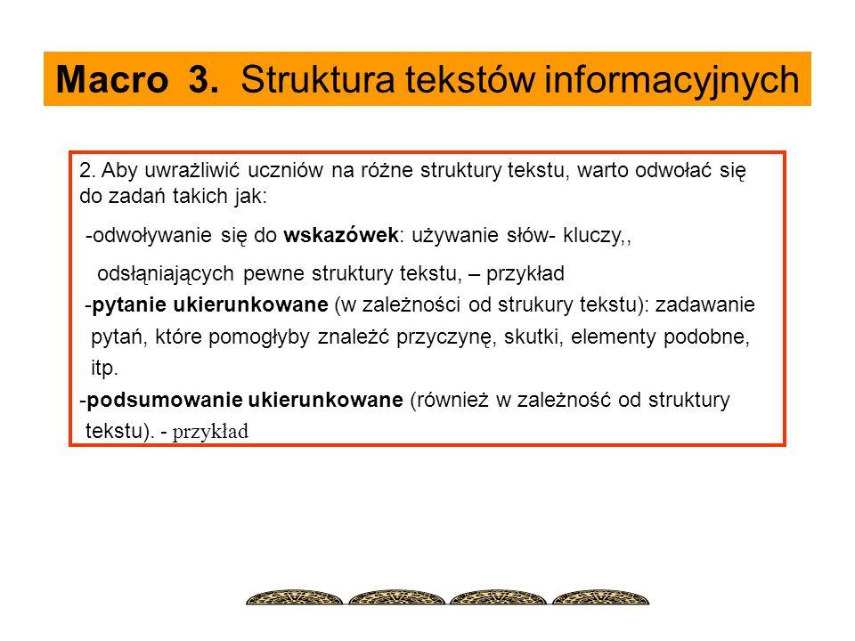 Macro 3. Struktura tekstów informacyjnych