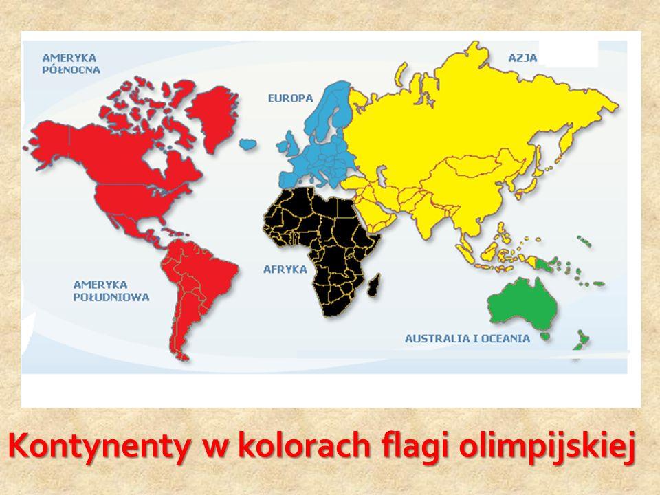 Kontynenty w kolorach flagi olimpijskiej