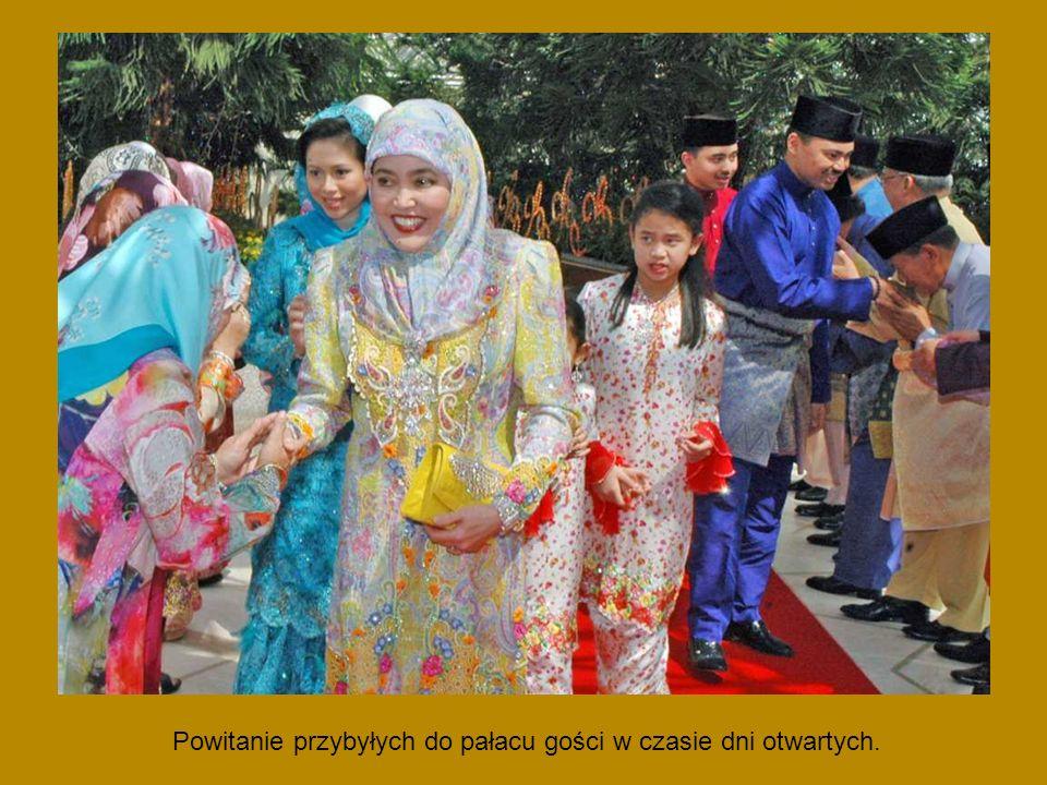 Powitanie przybyłych do pałacu gości w czasie dni otwartych.