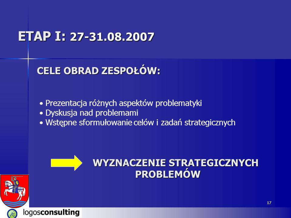 ETAP I: 27-31.08.2007 CELE OBRAD ZESPOŁÓW: WYZNACZENIE STRATEGICZNYCH