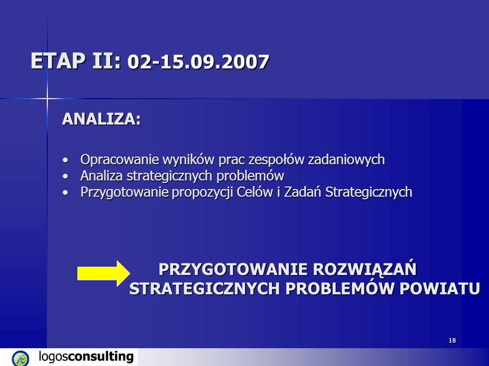 ETAP II: 02-15.09.2007 ANALIZA: Opracowanie wyników prac zespołów zadaniowych. Analiza strategicznych problemów.