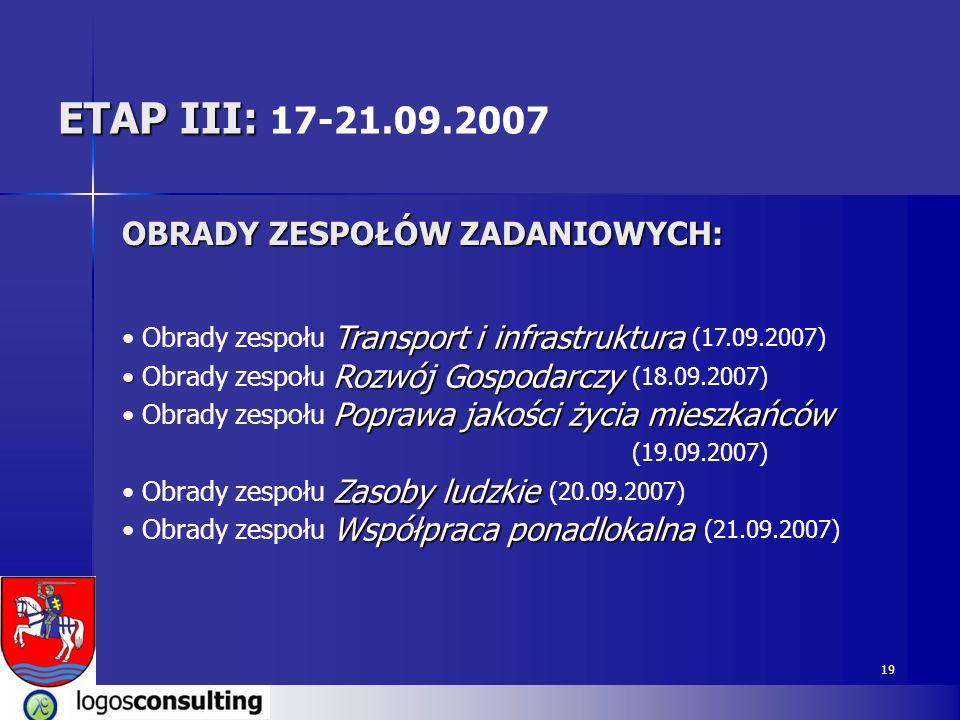 ETAP III: 17-21.09.2007 OBRADY ZESPOŁÓW ZADANIOWYCH: (19.09.2007)