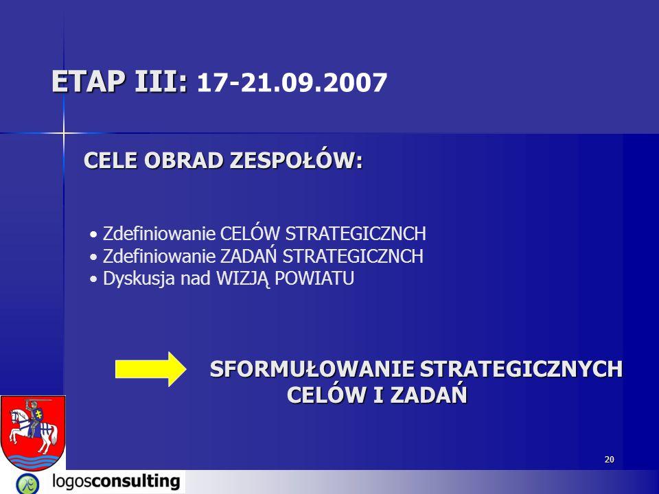 ETAP III: 17-21.09.2007 CELE OBRAD ZESPOŁÓW: