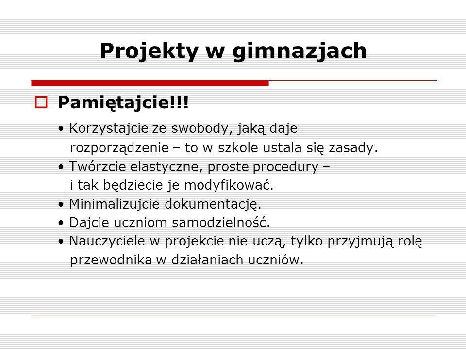 Projekty w gimnazjach Pamiętajcie!!!