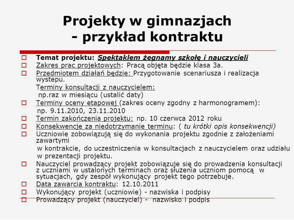 Projekty w gimnazjach - przykład kontraktu