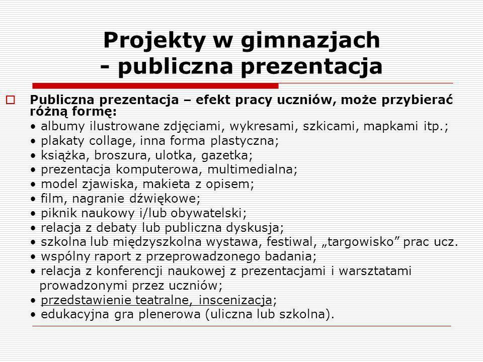 Projekty w gimnazjach - publiczna prezentacja