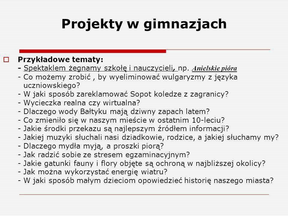Projekty w gimnazjach Przykładowe tematy: