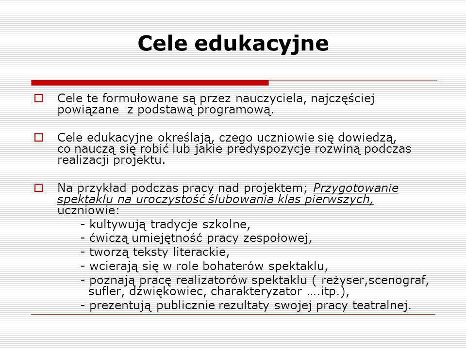 Cele edukacyjne Cele te formułowane są przez nauczyciela, najczęściej powiązane z podstawą programową.
