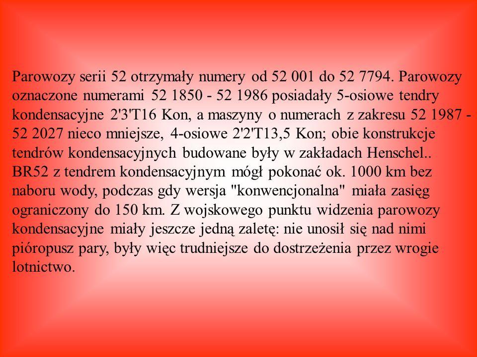 Parowozy serii 52 otrzymały numery od 52 001 do 52 7794