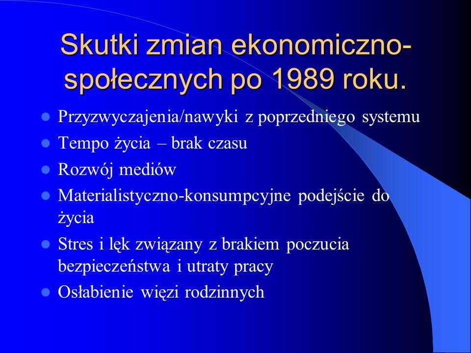 Skutki zmian ekonomiczno-społecznych po 1989 roku.