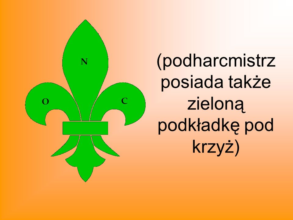 (podharcmistrz posiada także zieloną podkładkę pod krzyż)