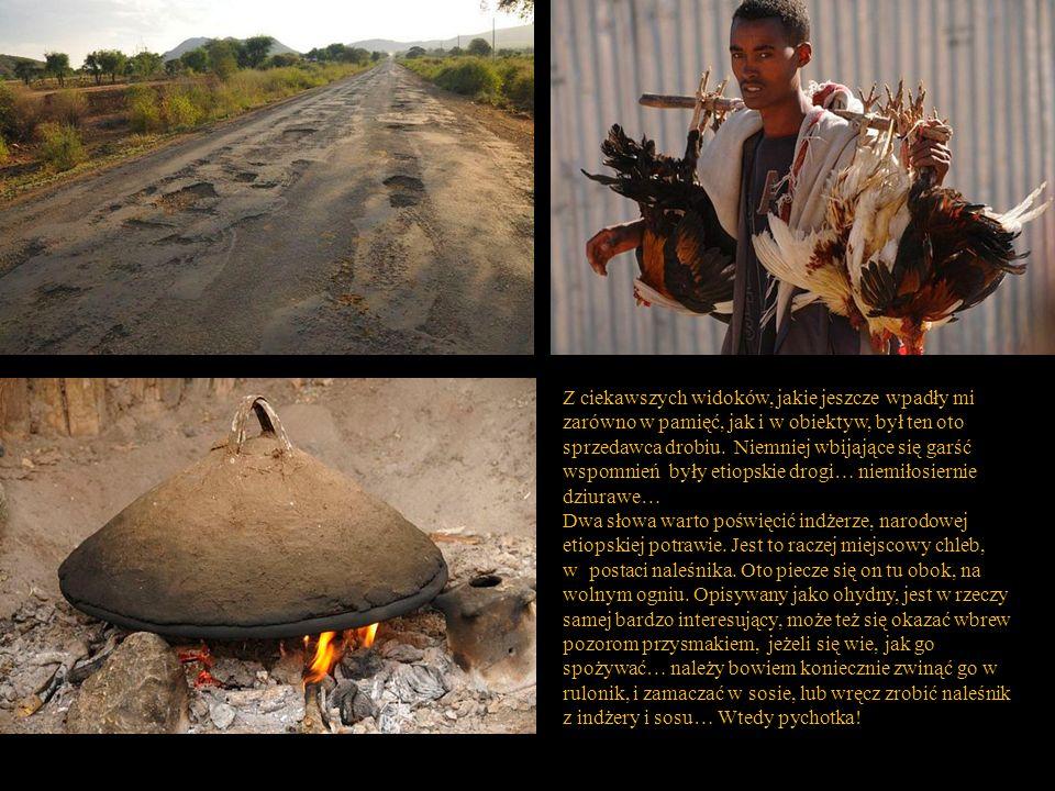 Z ciekawszych widoków, jakie jeszcze wpadły mi zarówno w pamięć, jak i w obiektyw, był ten oto sprzedawca drobiu. Niemniej wbijające się garść wspomnień były etiopskie drogi… niemiłosiernie dziurawe…