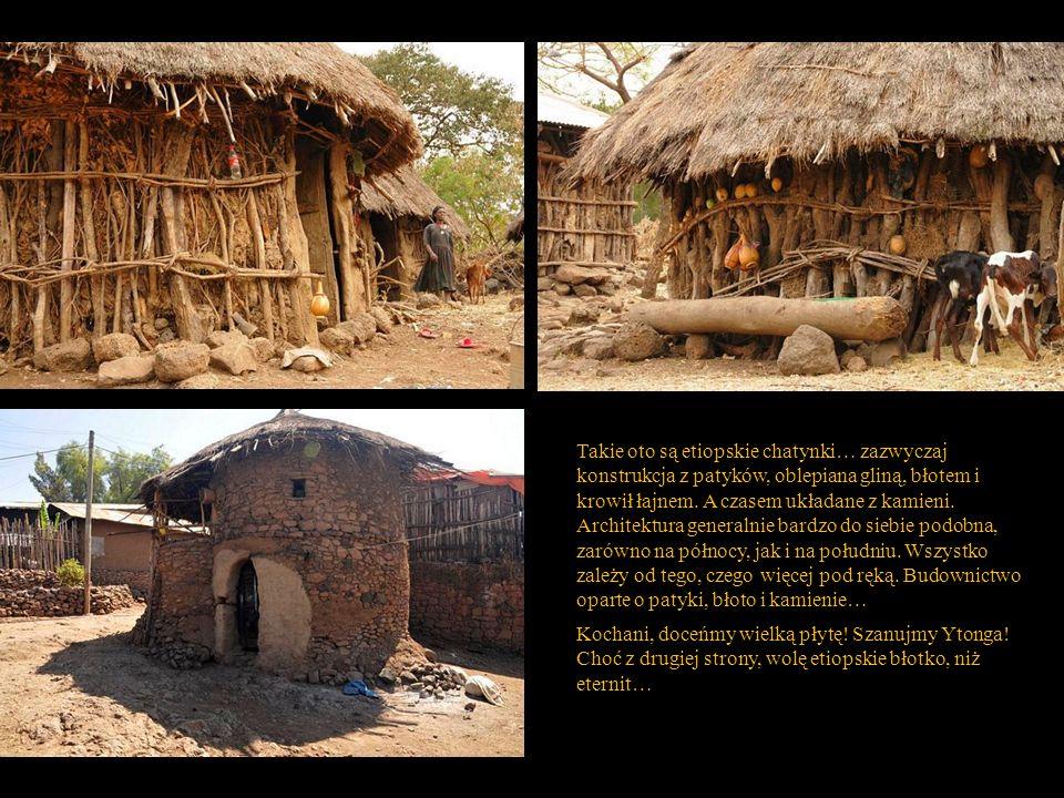 Takie oto są etiopskie chatynki… zazwyczaj konstrukcja z patyków, oblepiana gliną, błotem i krowił łajnem. A czasem układane z kamieni. Architektura generalnie bardzo do siebie podobna, zarówno na północy, jak i na południu. Wszystko zależy od tego, czego więcej pod ręką. Budownictwo oparte o patyki, błoto i kamienie…