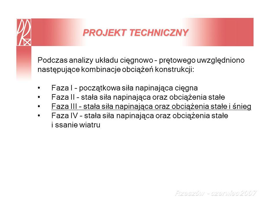 PROJEKT TECHNICZNY Podczas analizy układu cięgnowo – prętowego uwzględniono. następujące kombinacje obciążeń konstrukcji: