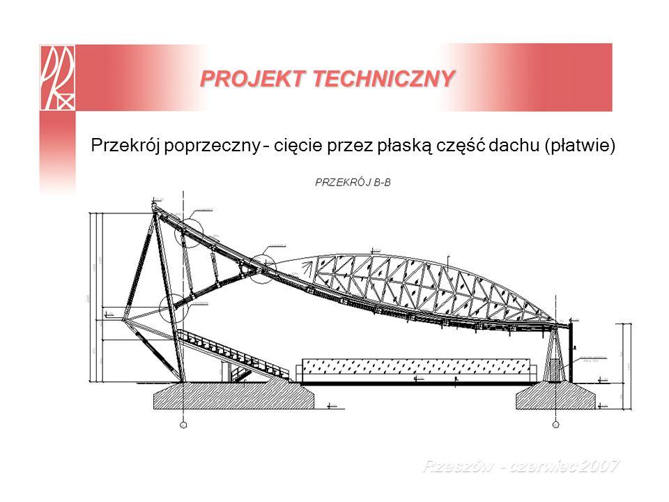 PROJEKT TECHNICZNY Przekrój poprzeczny – cięcie przez płaską część dachu (płatwie) Rzeszów - czerwiec 2007.