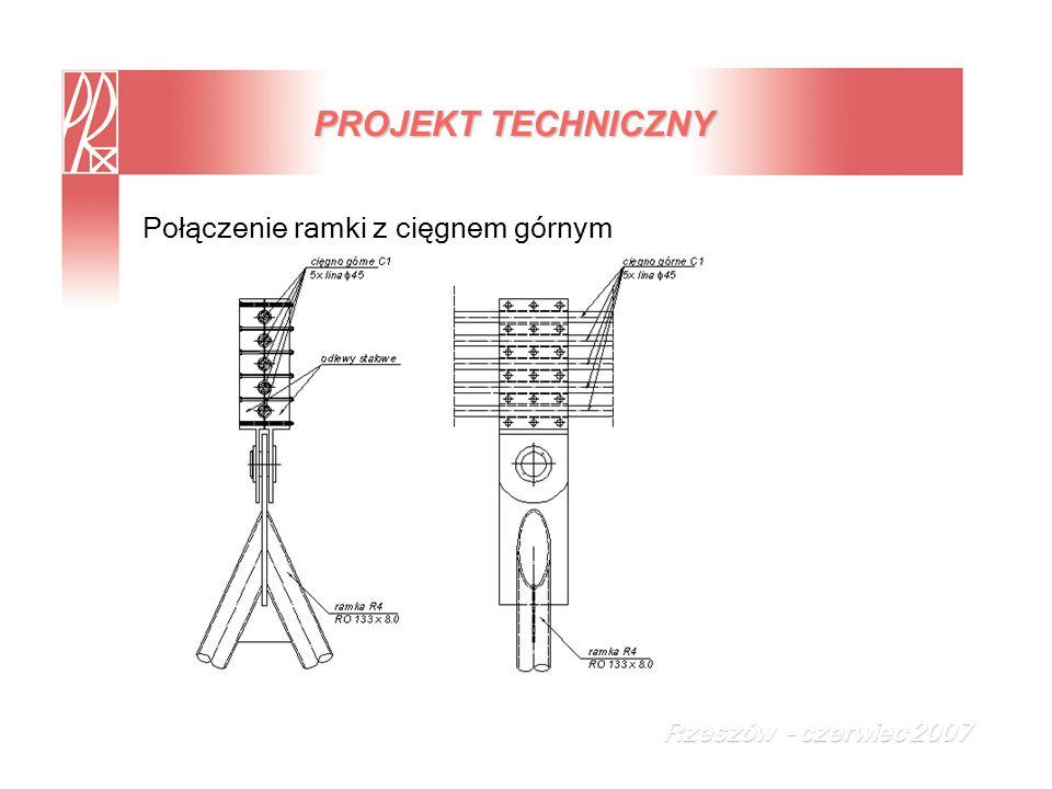 PROJEKT TECHNICZNY Połączenie ramki z cięgnem górnym
