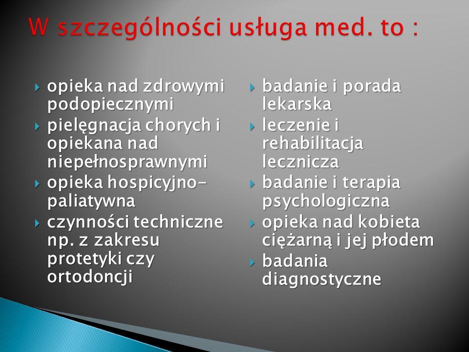 W szczególności usługa med. to :