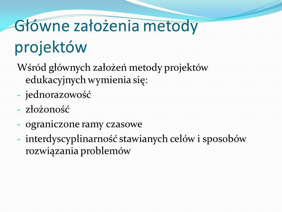 Główne założenia metody projektów