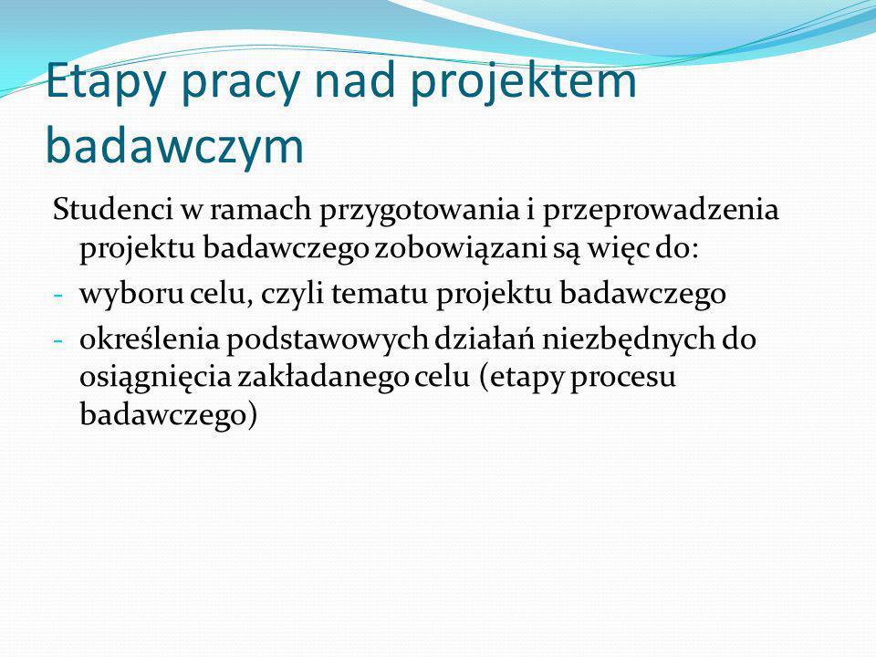 Etapy pracy nad projektem badawczym