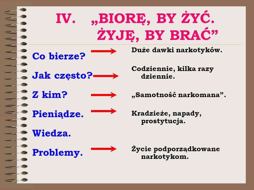 """IV. """"BIORĘ, BY ŻYĆ. ŻYJĘ, BY BRAĆ"""