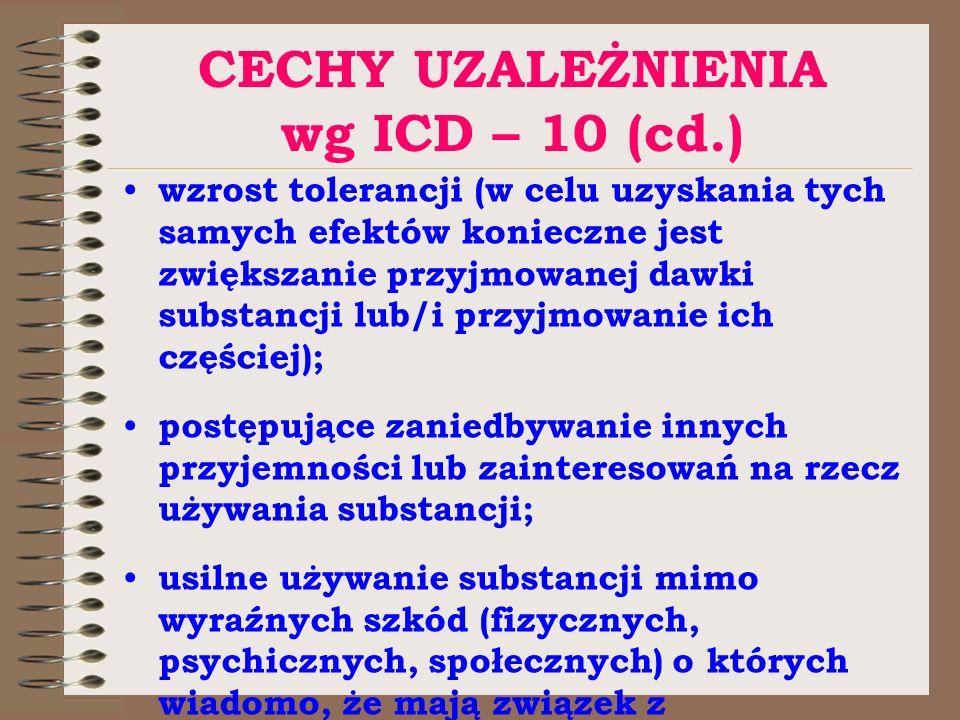 CECHY UZALEŻNIENIA wg ICD – 10 (cd.)
