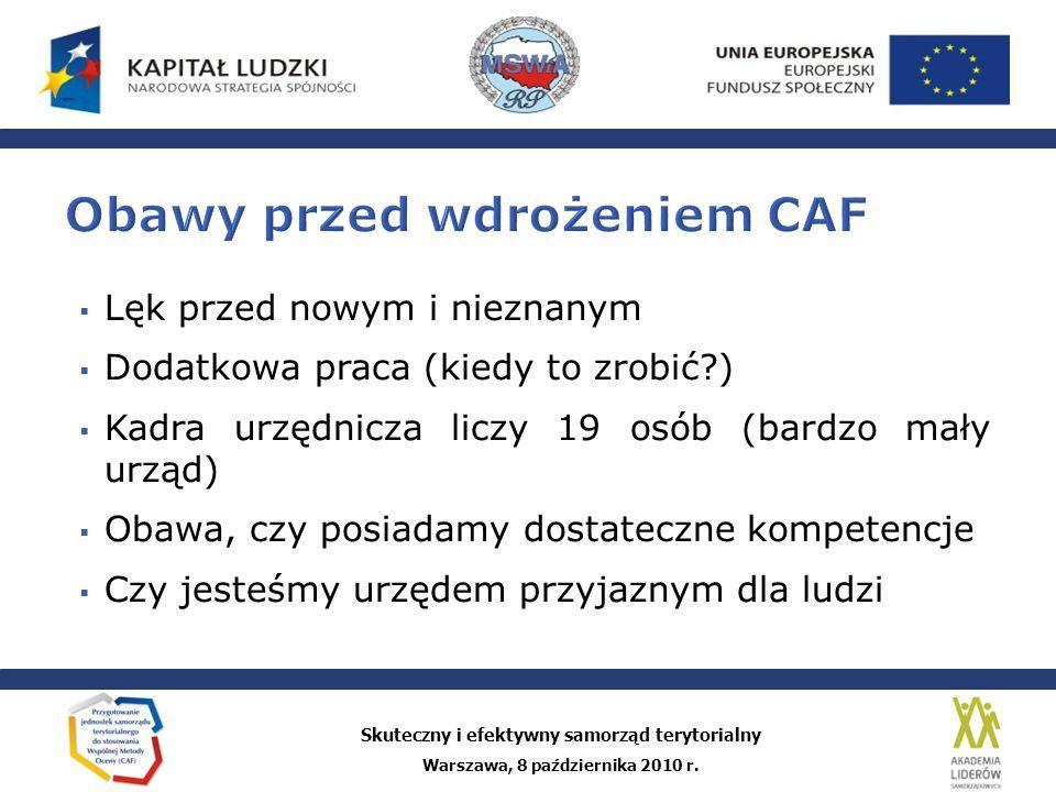 Obawy przed wdrożeniem CAF