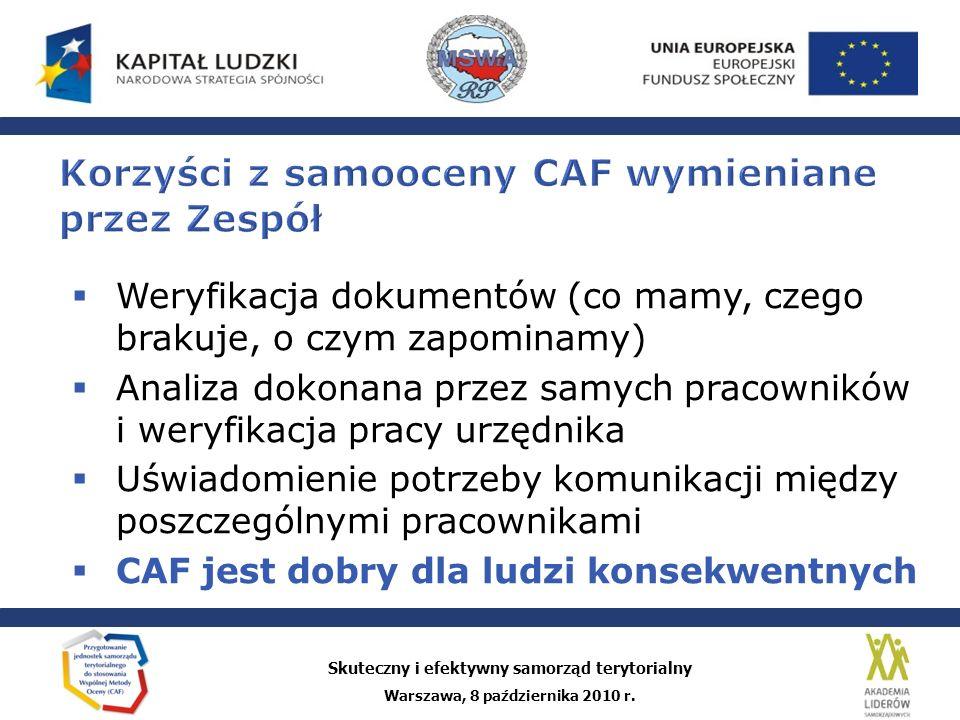 Korzyści z samooceny CAF wymieniane przez Zespół