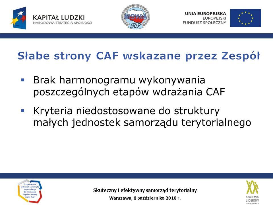 Słabe strony CAF wskazane przez Zespół