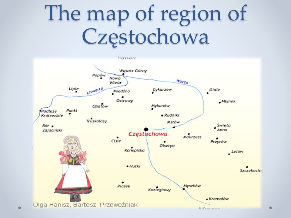 The map of region of Częstochowa